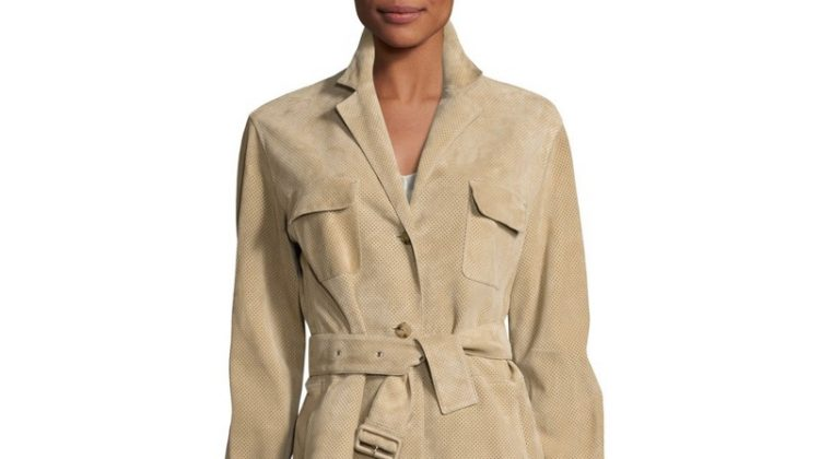 The Row Zoe Perforated Suede Trenchcoat $2,391.90 (previously $5,950)