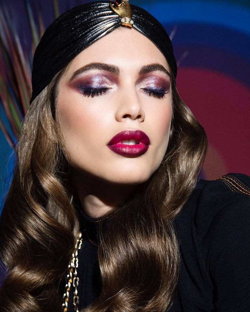 Channeling a vamp makeup look, Valentina Sampaio fronts Marc Jacobs Beauty