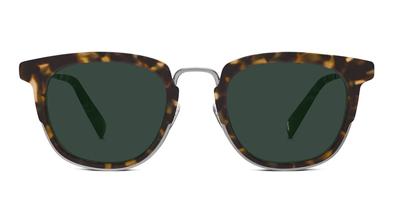 Warby Parker Avery Sunglasses in Hazelnut Tortoise Matte with Green-Grey Lenses $145