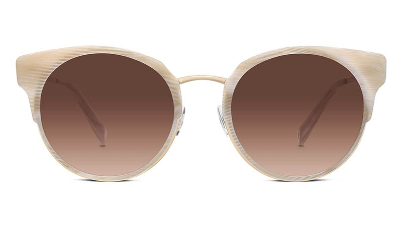 Warby Parker Cleo Sunglasses in Striped Oystershell Brown with Gradient Lenses $145