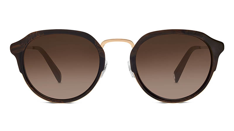 Warby Parker Wyatt Sunglasses in Marbled Walnut with Brown Gradient Lenses $145