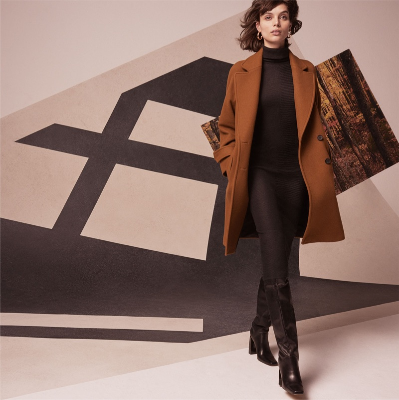 Charlee Fraser models Zara long crossover coat and over-the-knee leather boots