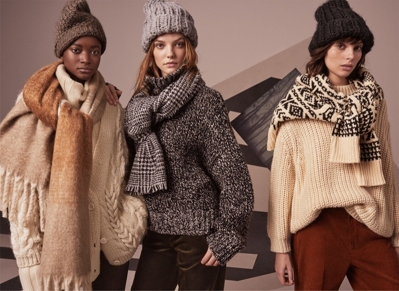 Oumie Jammeh, Sophie Martynova and Charlee Fraser model chunky knitwear from Zara