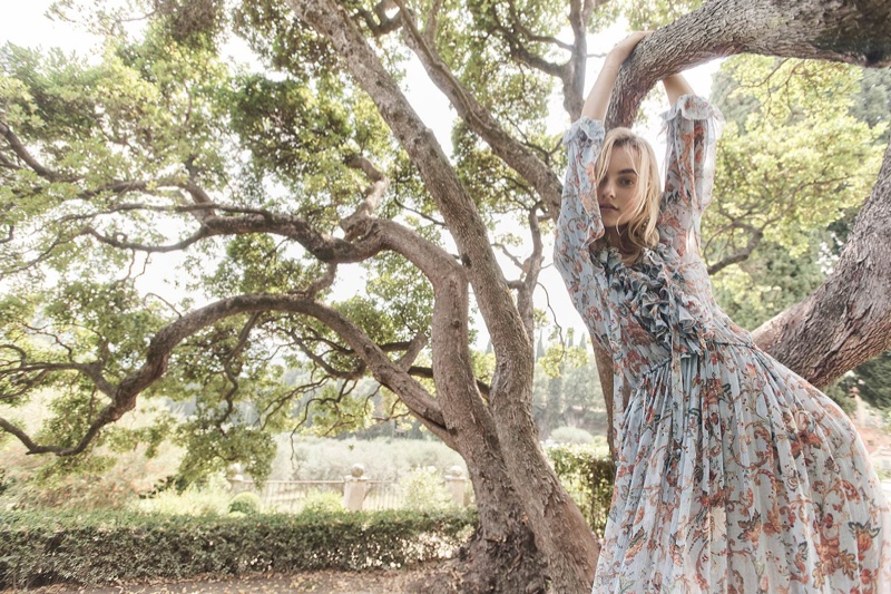 Model Maartje Verhoef poses in Zimmermann's resort 2018 campaign
