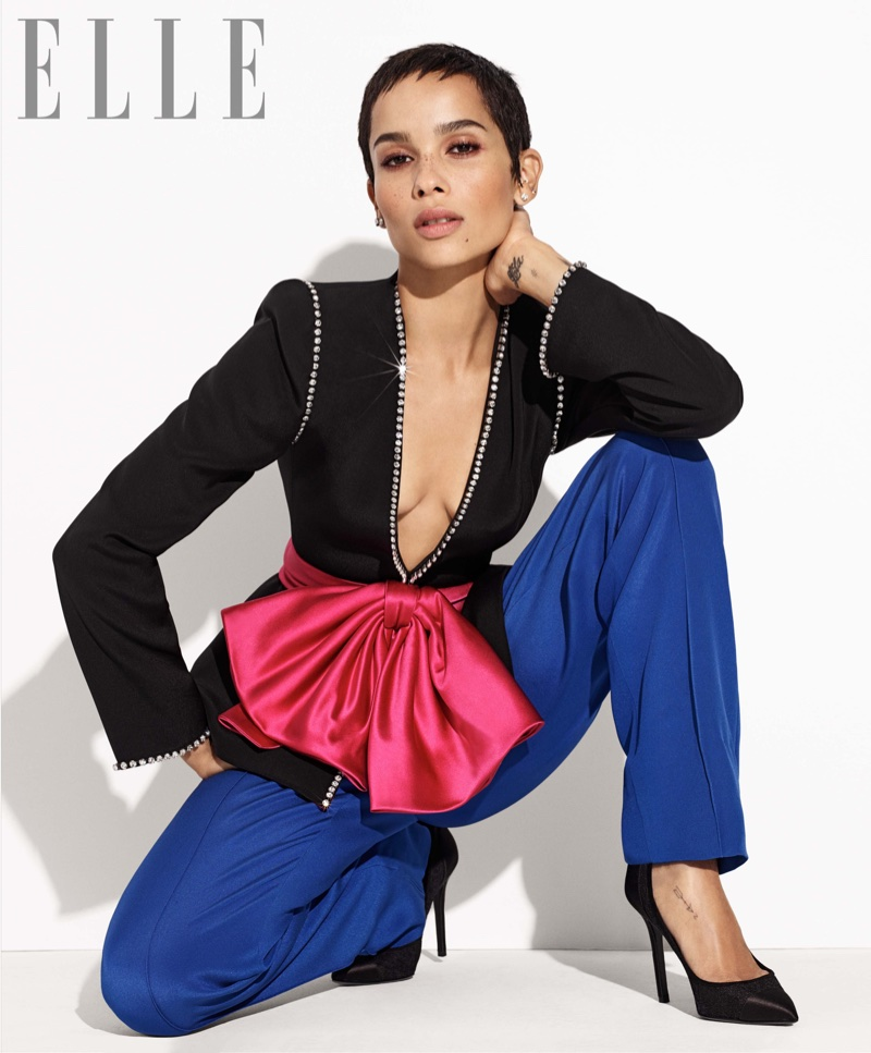 Actress Zoe Kravitz wears Gucci jacket and pants with Stella Luna pumps