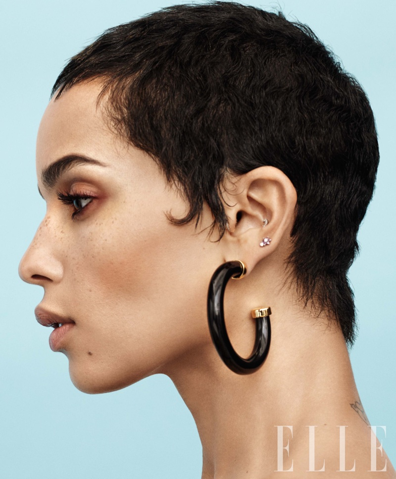 Zoe Kravitz models Kenneth Jay Lane earrings