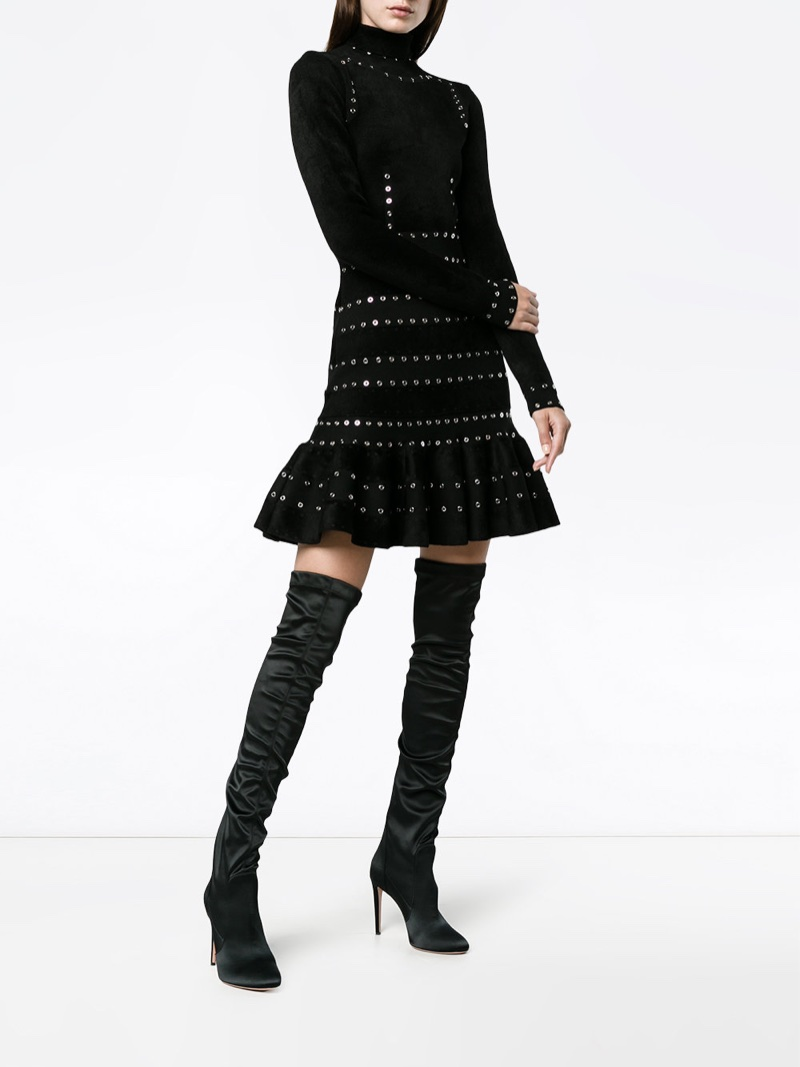 Alexander McQueen Long Sleeve Dress with Eyelet Stud Detail $1,890 (previously $3,150)
