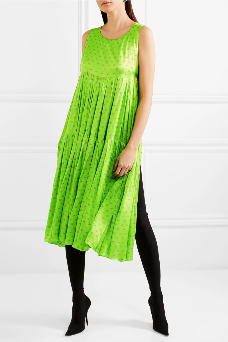 Balenciaga Apron Open-Back Printed Silk-Satin Jacquard Dress $1,990