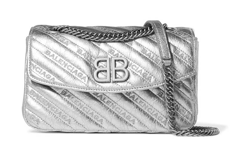 Balenciaga BB Round Embroidered Quilted Metallic Textured-Leather Shoulder Bag $1,650