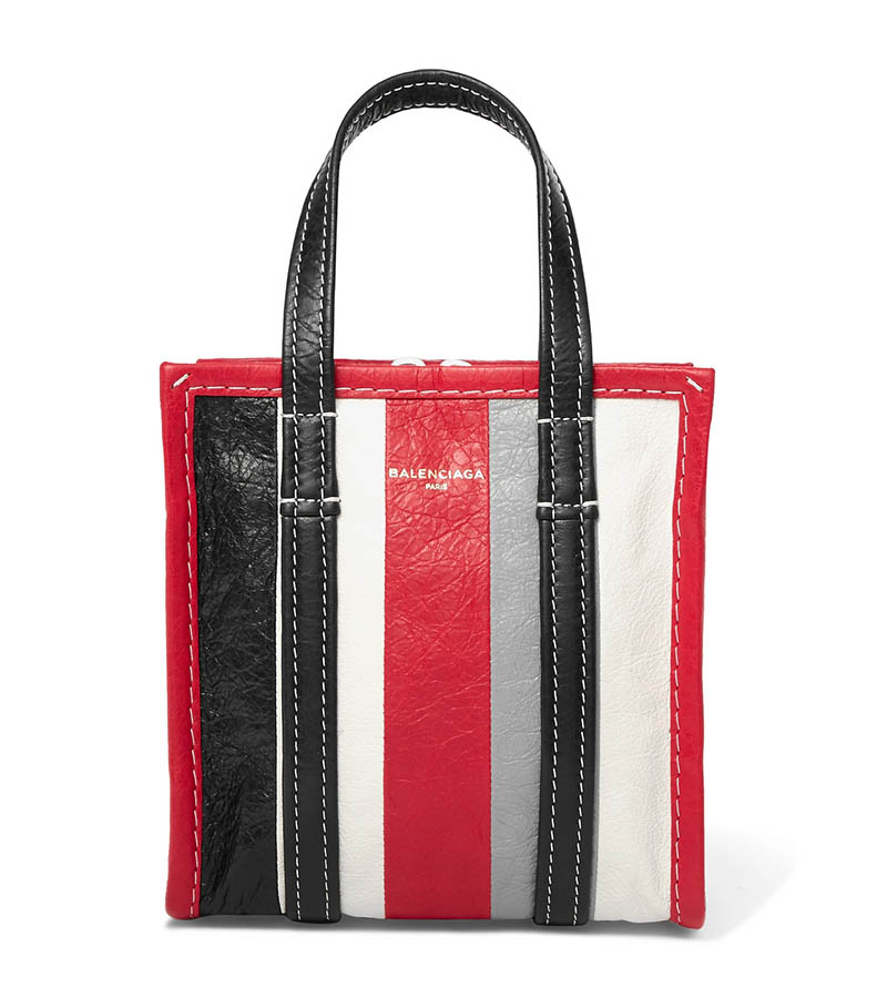 Balenciaga Bazar XXS Striped Textured-Leather Tote $1,190