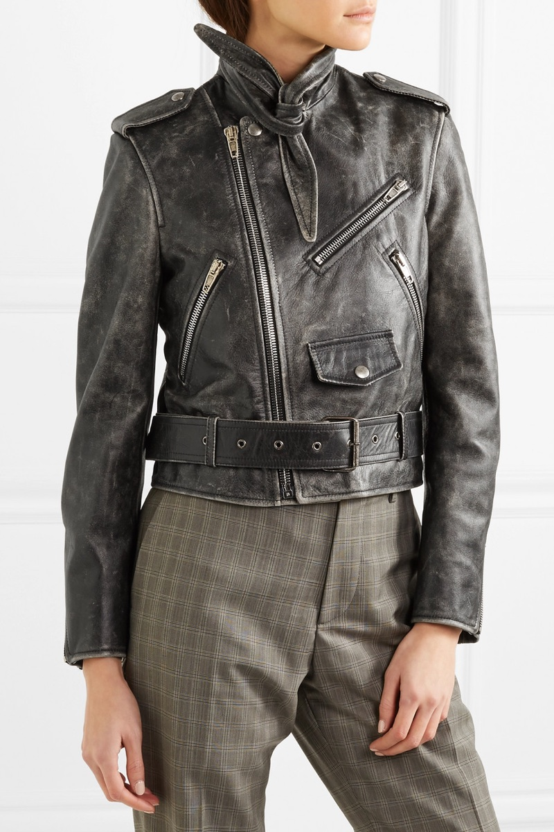 Balenciaga Scarf Distressed Leather Biker Jacket $3,000