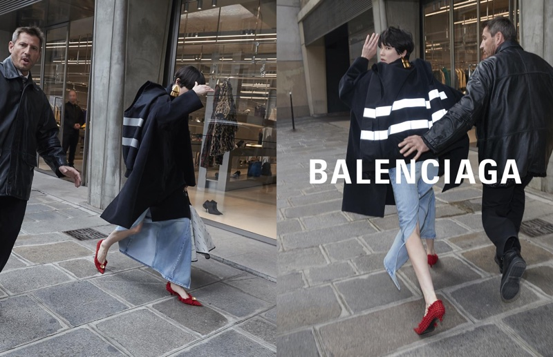 Kennah Lau hides from the paparazzi in Balenciaga's spring-summer 2018 campaign