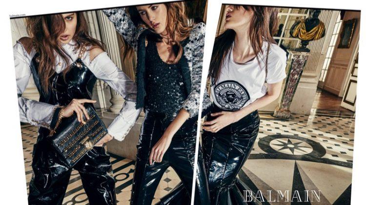 Katrin Zakharova, Valery Kaufman and Aleyna FitzGerald star in Balmain's spring-summer 2018 campaign