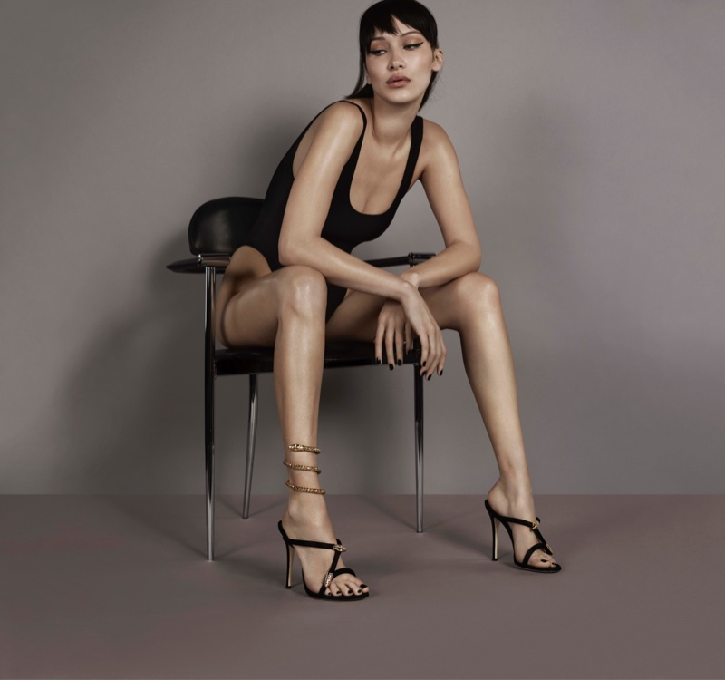 An image from Giuseppe Zanotti's spring 2018 advertising campaign starring Bella Hadid