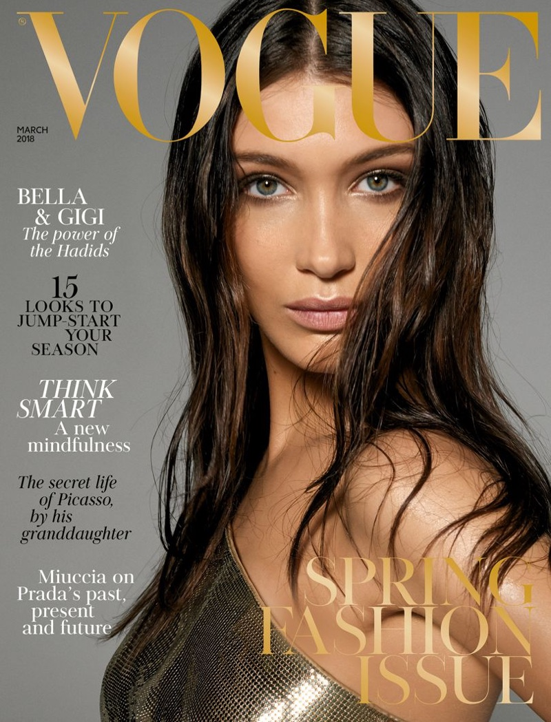 Bella Hadid on Vogue UK March 2018 Cover