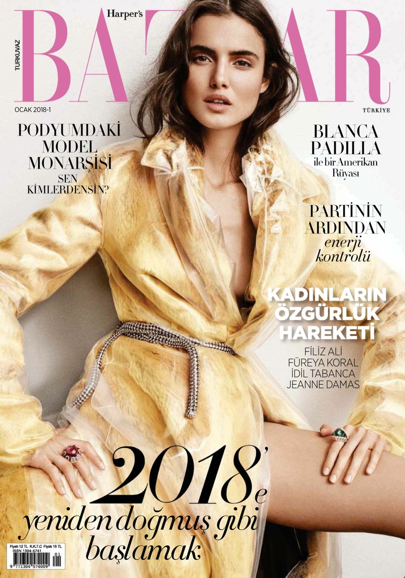 Blanca Padilla on Harper's Bazaar Turkey January 2018 Cover