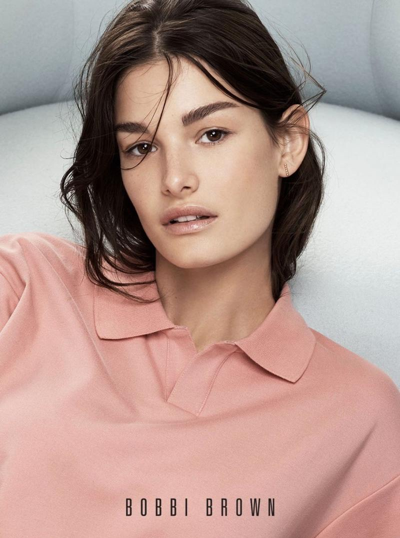 Model Ophelie Guillermand wears glossy lips in Bobbi Brown Cosmetics' spring-summer 2018 campaign