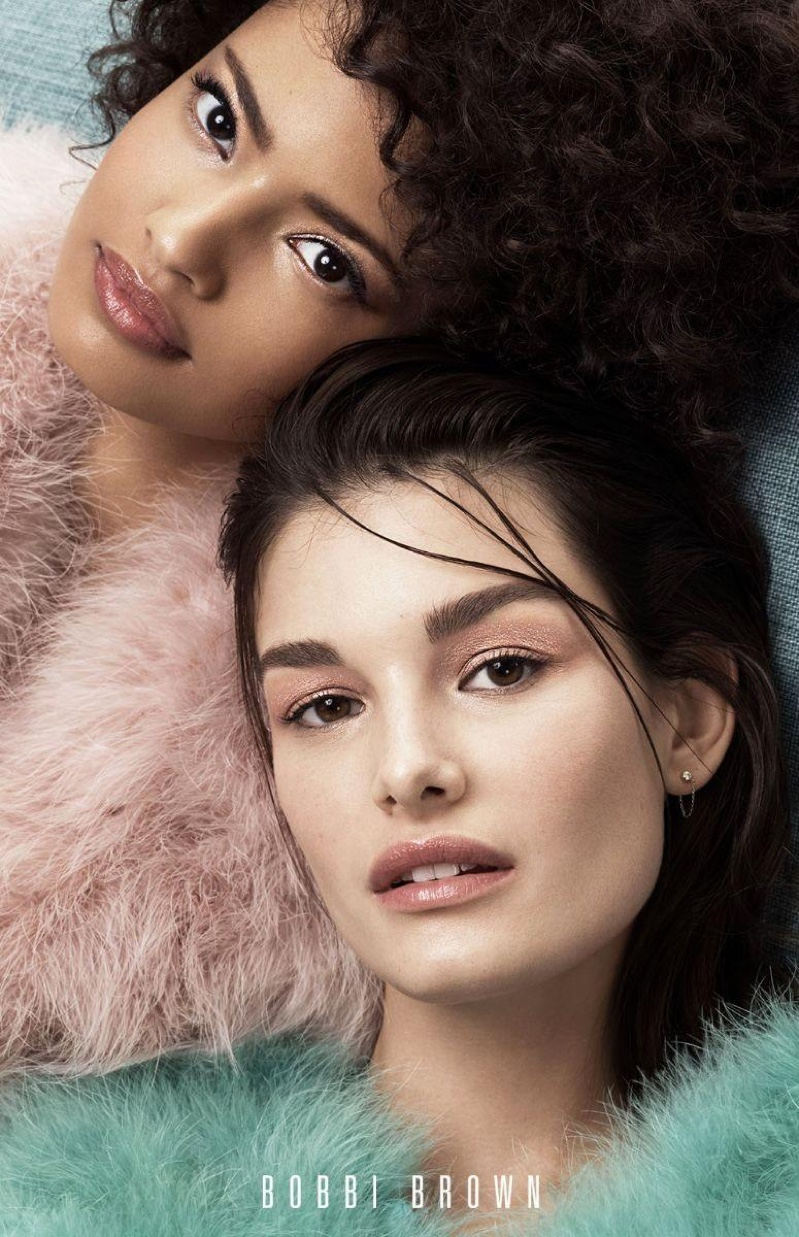 Malaika Firth abd Ophelie Guillermand shine in Bobbi Browns Cosmetics' spring-summer 2018 campaign