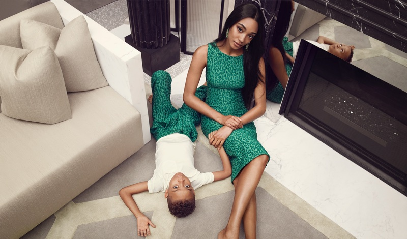 Jourdan Dunn and son Riley pose in Brandon Maxwell's spring-summer 2018 campaign