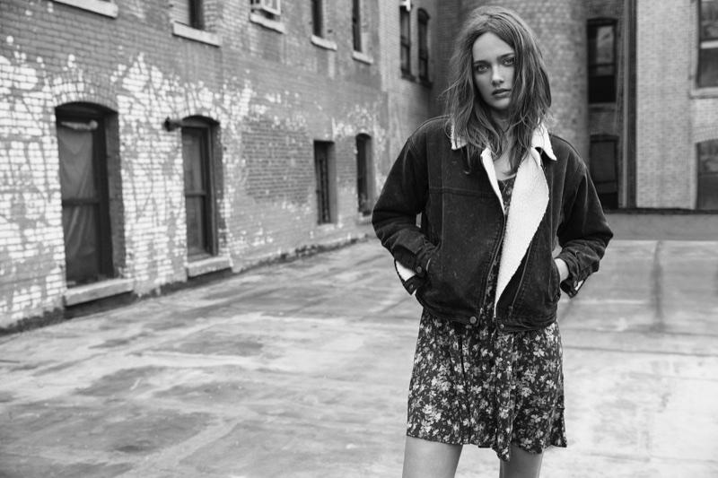 Karmen Pedaru wears denim jacket and floral print dress in Buffalo Jeans campaign