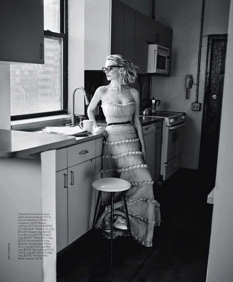 Posing in a kitchen, Carey Mulligan wears Dior haute couture gown and Emma Mulholland x Pared sunglasses