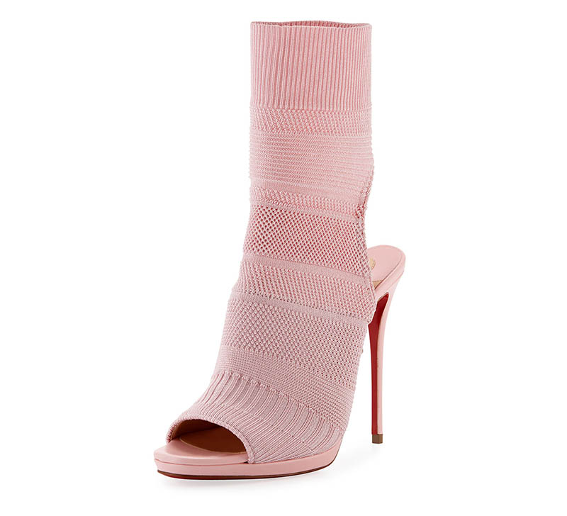 Christian Louboutin Cheminene Stretch-Knit Open-Toe Bootie $1,045