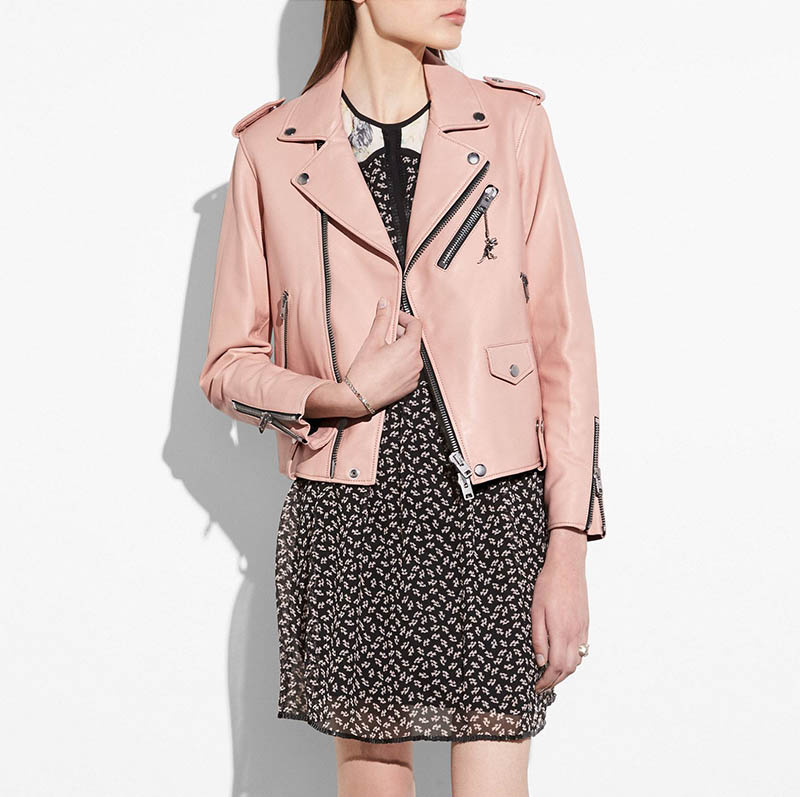 Coach Moto Jacket in Powder Pink $625 (previously $1250)
