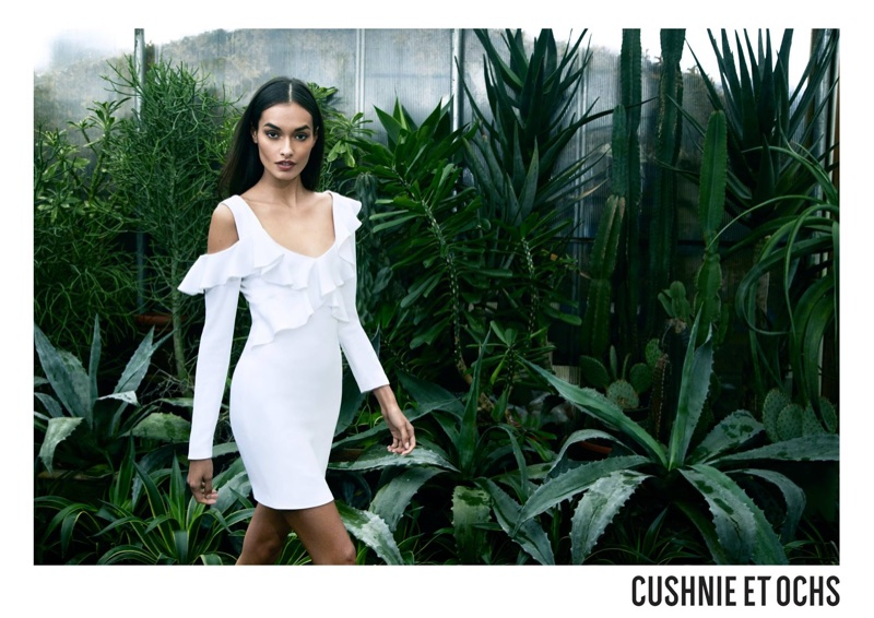 Gizele Oliveira poses in white dress for Cushnie et Ochs' spring-summer 2018 campaign