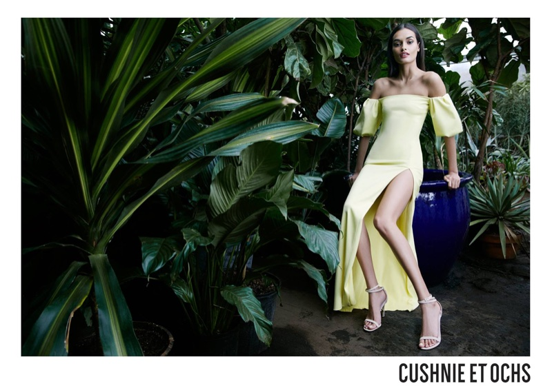 Model Gizele Oliveira wears yellow dress for Cushnie et Ochs' spring-summer 2018 campaign