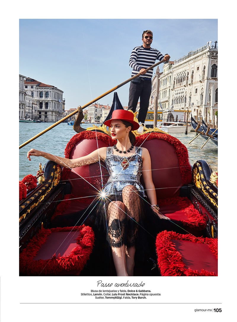 Denisa KucikPoses in Glam Venice Styles for Glamour Mexico