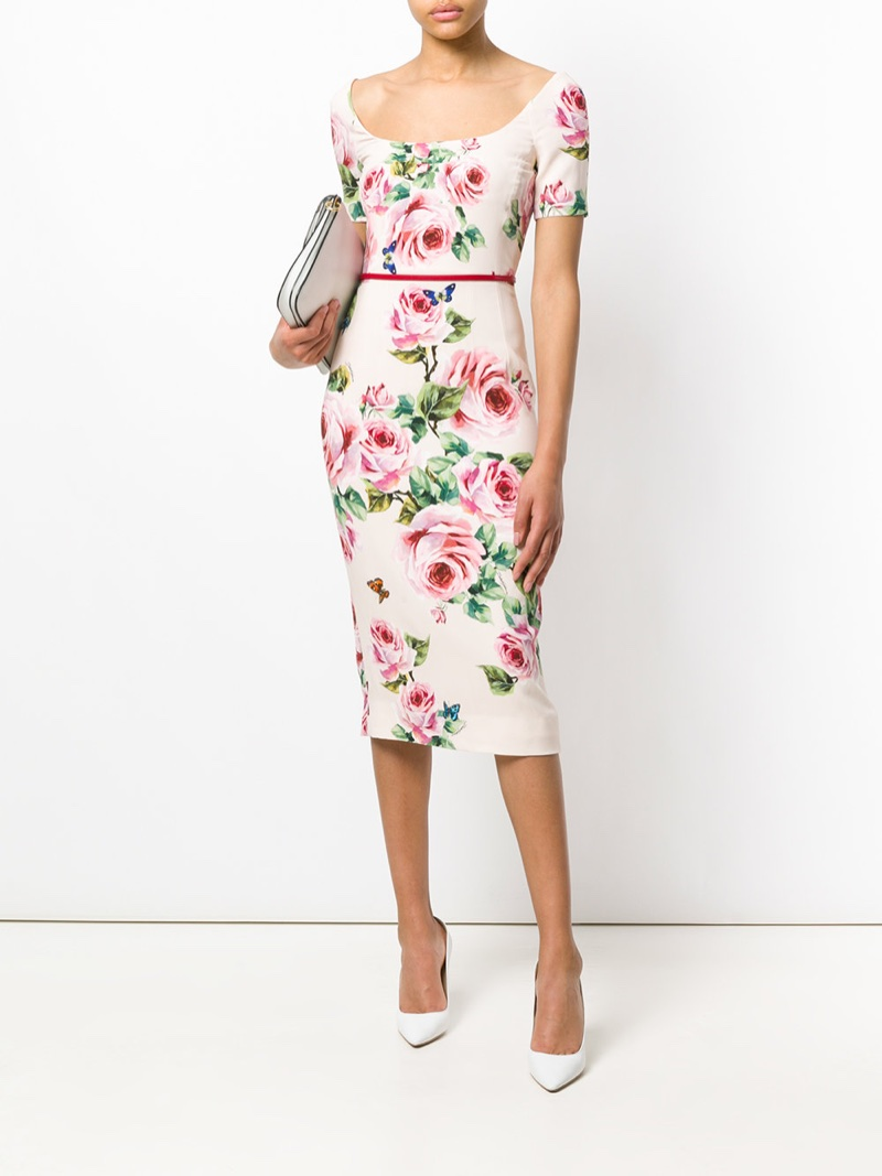 Dolce & Gabbana Rose Print Midi Dress $1,932