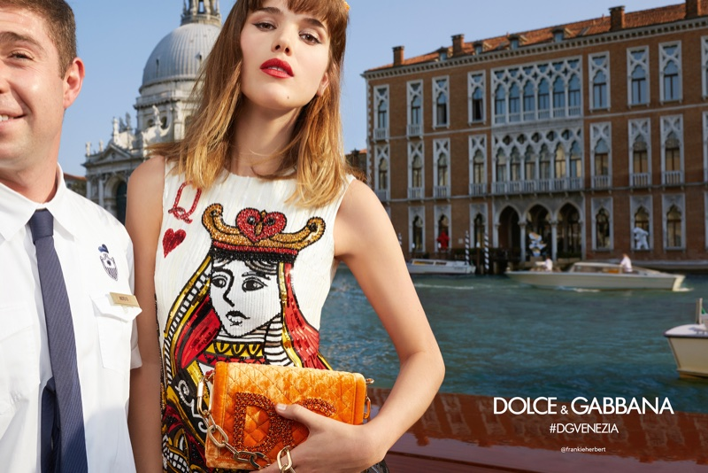 Frankie Herbert poses in Venice for Dolce & Gabbana's spring-summer 2018 campaign