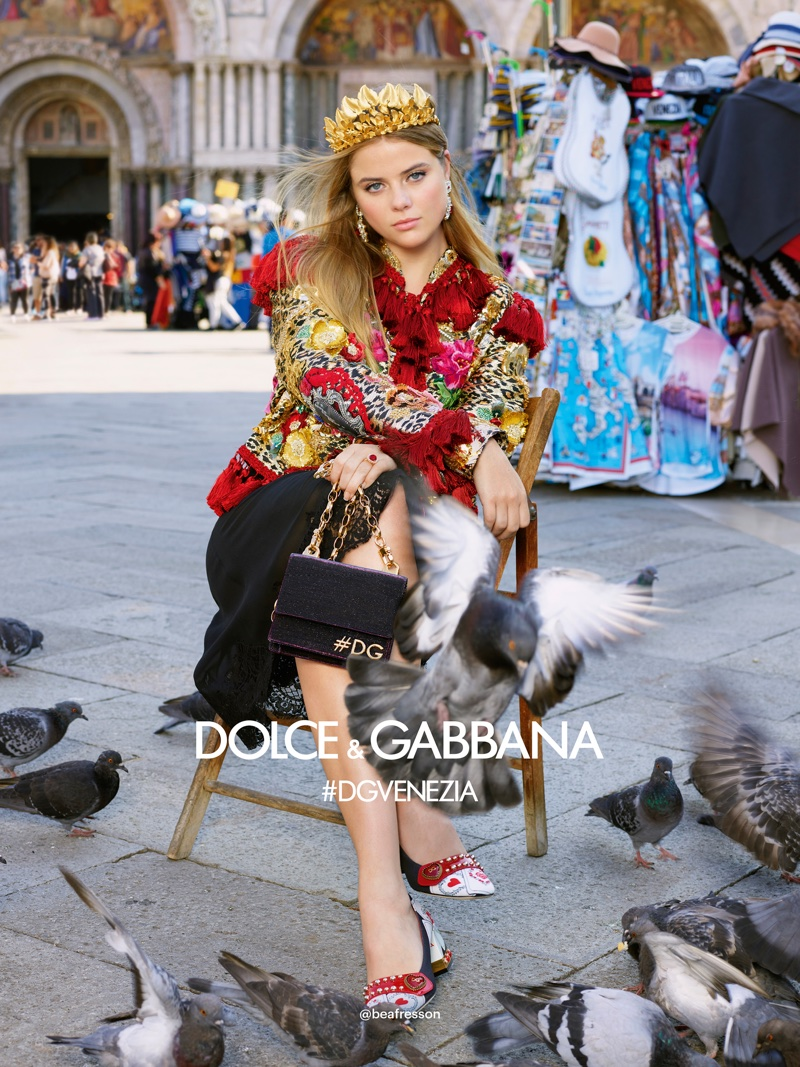 Bea Fresson wears a crown in Dolce & Gabbana's spring-summer 2018 campaign