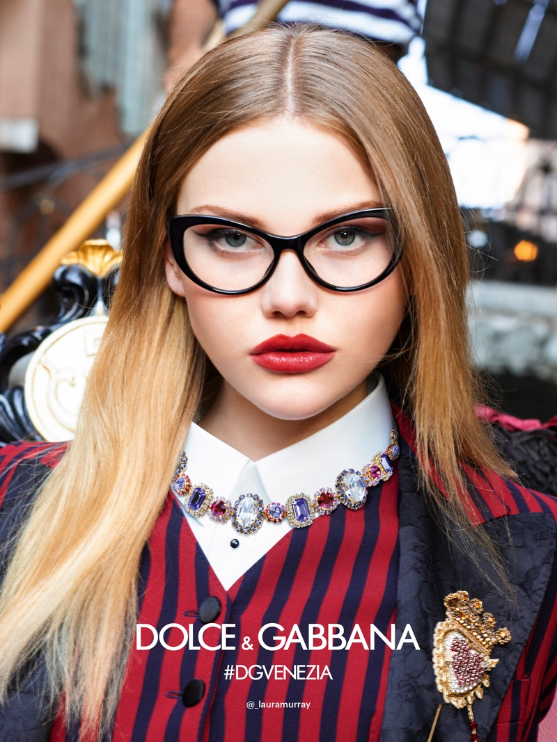 Laura Murray appears in Dolce & Gabbana's spring-summer 2018 eyewear campaign