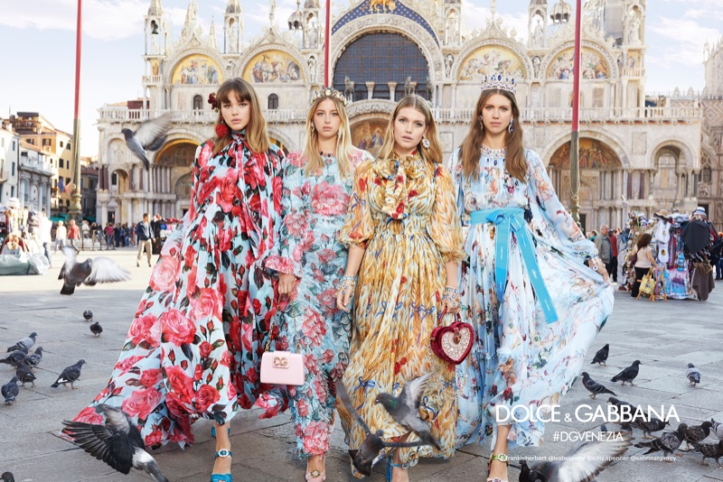 Dolce & Gabbana features printed silk dresses in spring-summer 2018 campaign