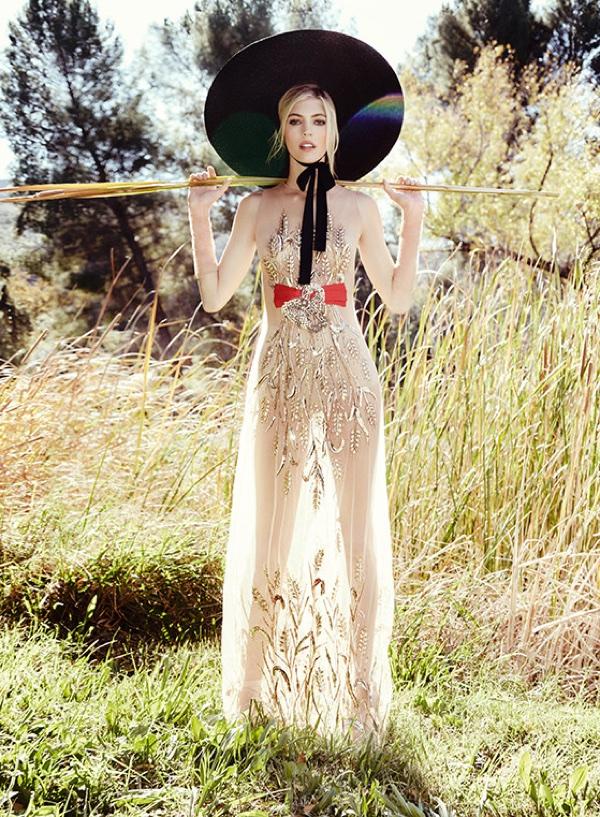 Devon Windsor poses in embellished gown for Elisabetta Franchi's spring-summer 2018 campaign