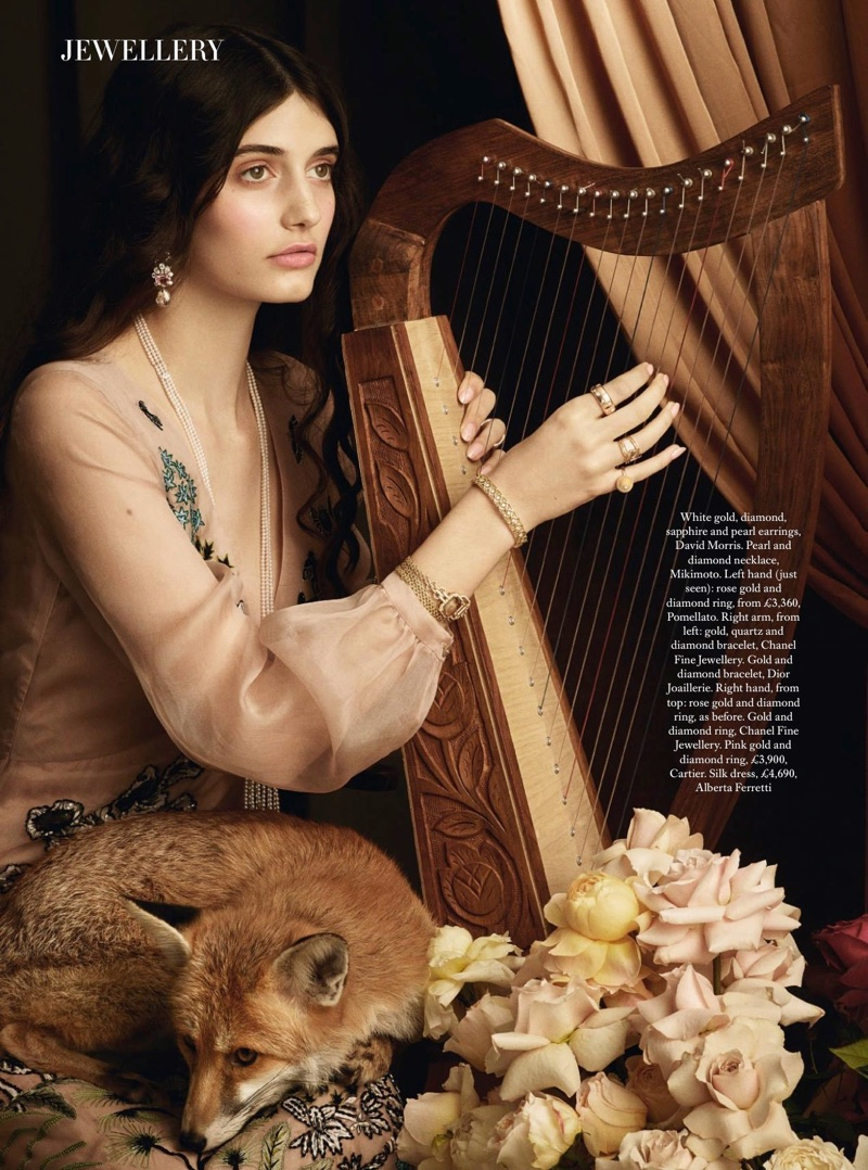 Emily Reda Stuns in Pre-Raphaelite Styles for Harper's Bazaar UK