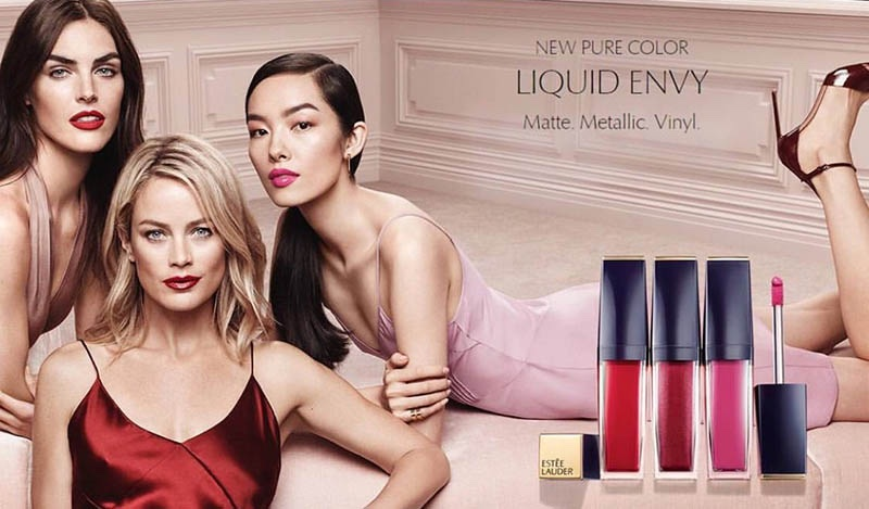 Hilary Rhoda, Carolyn Murphy and Fei Fei Sun front Estee Lauder Liquid Envy advertising campaign