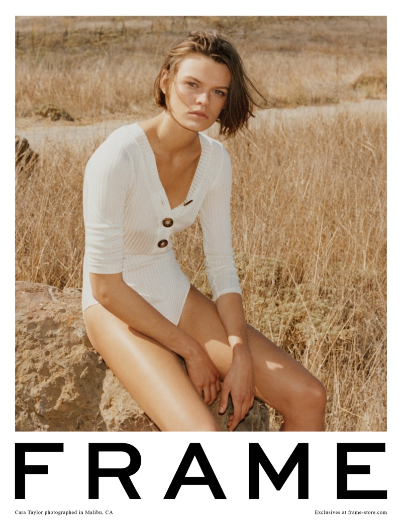 Cara Taylor wears white bodysuit in FRAME's spring-summer 2018 campaign