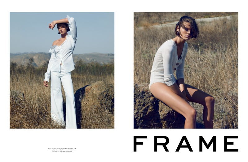 Cara Taylor poses in Malibu, California for FRAME's spring-summer 2018 campaign