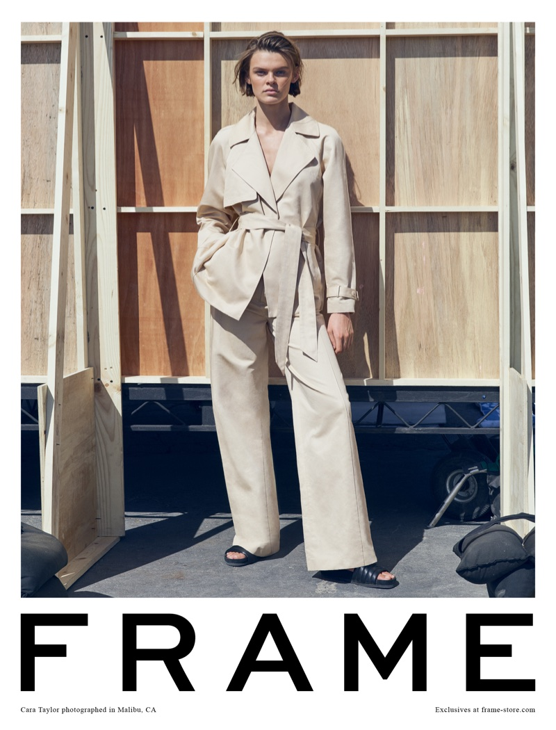 Cara Taylor models relaxed silhouettes for FRAME's spring-summer 2018 campaign