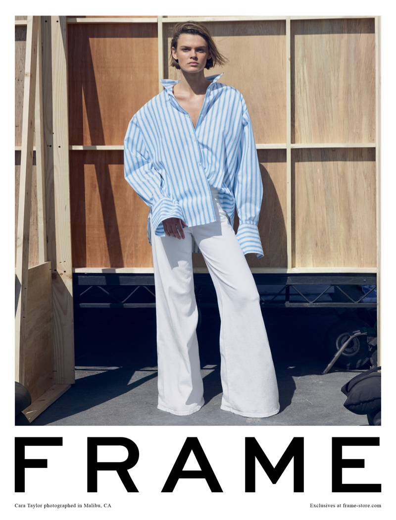 Model Cara Taylor appears in FRAME's spring-summer 2018 campaign