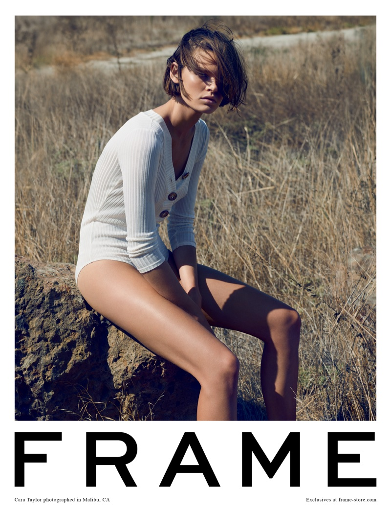 Cara Taylor poses outdoors for FRAME's spring-summer 2018 campaign