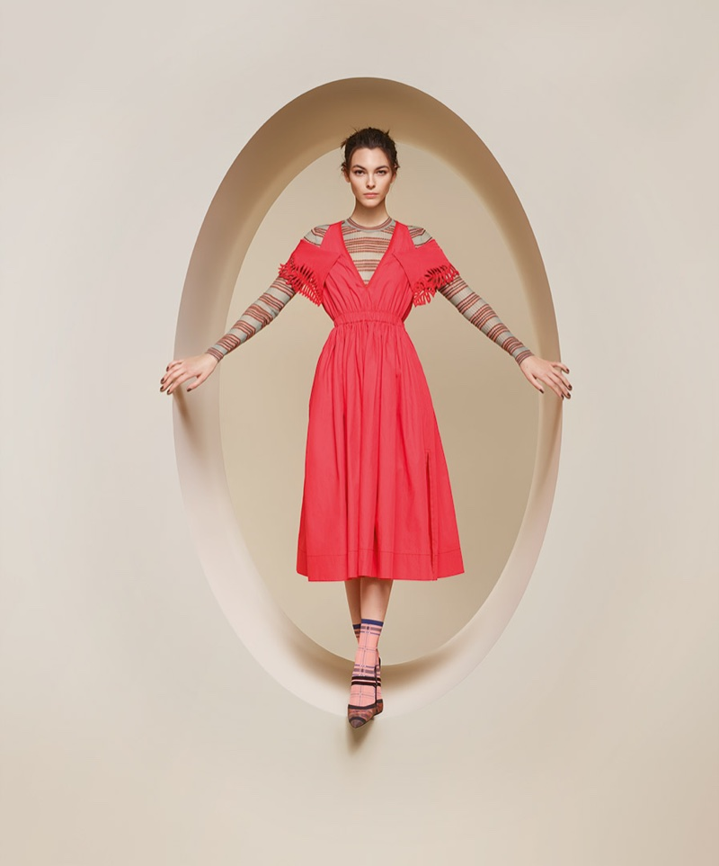 Model Vittoria Ceretti poses in red dress for Fendi's spring-summer 2018 campaign