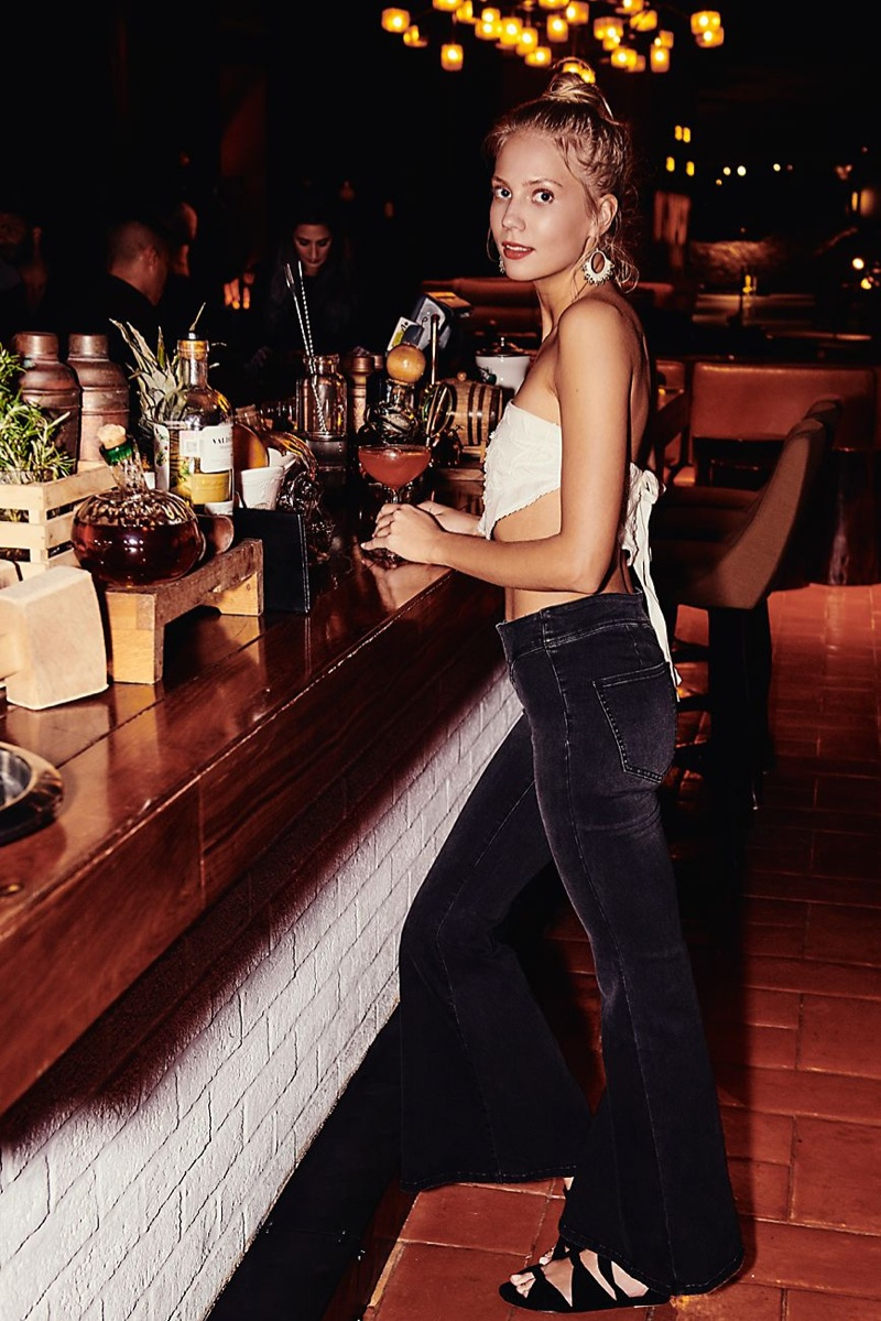 Free People Aphrodite Tube Top and Low Rise Denim Flare