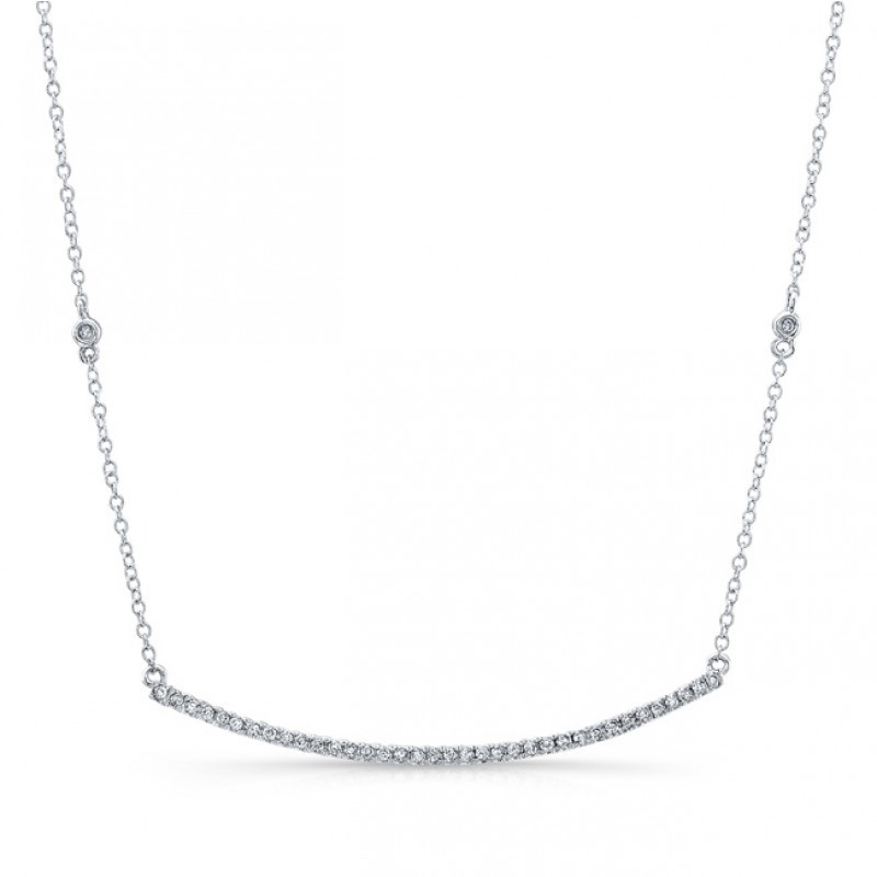 GNAT White Gold and White Diamond Bar Necklace