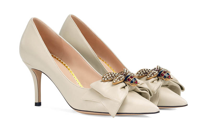 Gucci Leather Mid-Heel Pump with Bow $1,150
