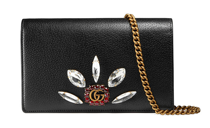Gucci Leather Mini Chain Bag with Double G and Crystals $1,450