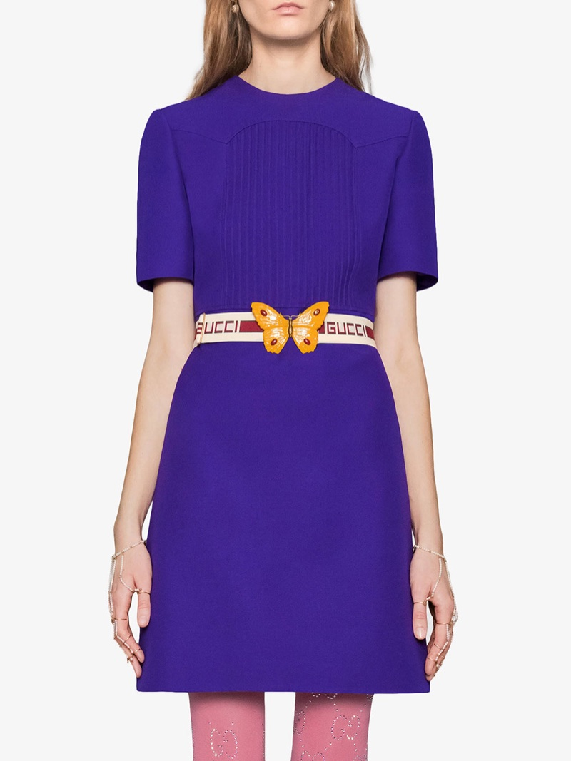 Gucci Wool Silk Pintuck Dress with Belt $3,400