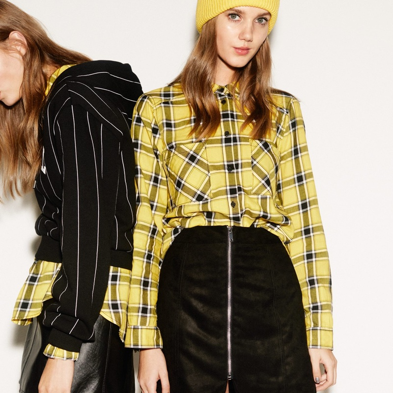 (Left) H&M Short Hooded Sweatshirt and Short Skirt (Right) H&M Plaid Shirt and Short Skirt